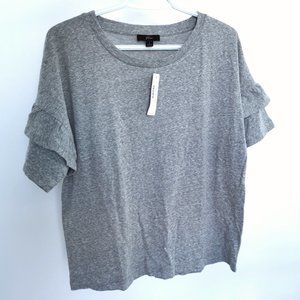 J. Crew Gray Ruffle Sleeve Shirt